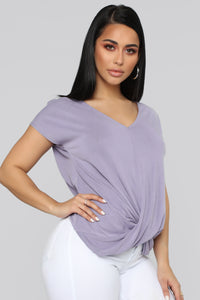 Twisted V Neck Top - Lavender
