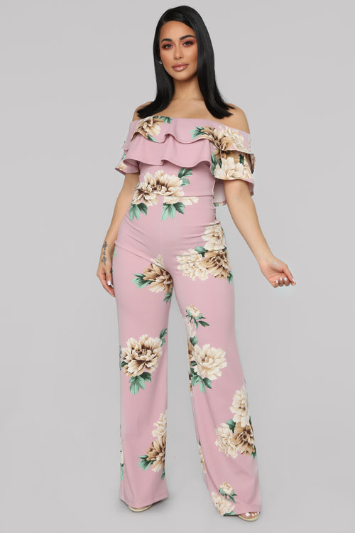 92895ccb887 Ready To Ruffle Floral Jumpsuit - Mauve Floral