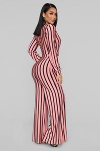 Right Up My Alley Striped Jumpsuit - Pink/Combo