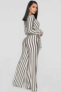 Right Up My Alley Striped Jumpsuit - Taupe/Combo