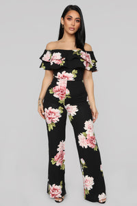 Ready To Ruffle Floral Jumpsuit - Black Floral