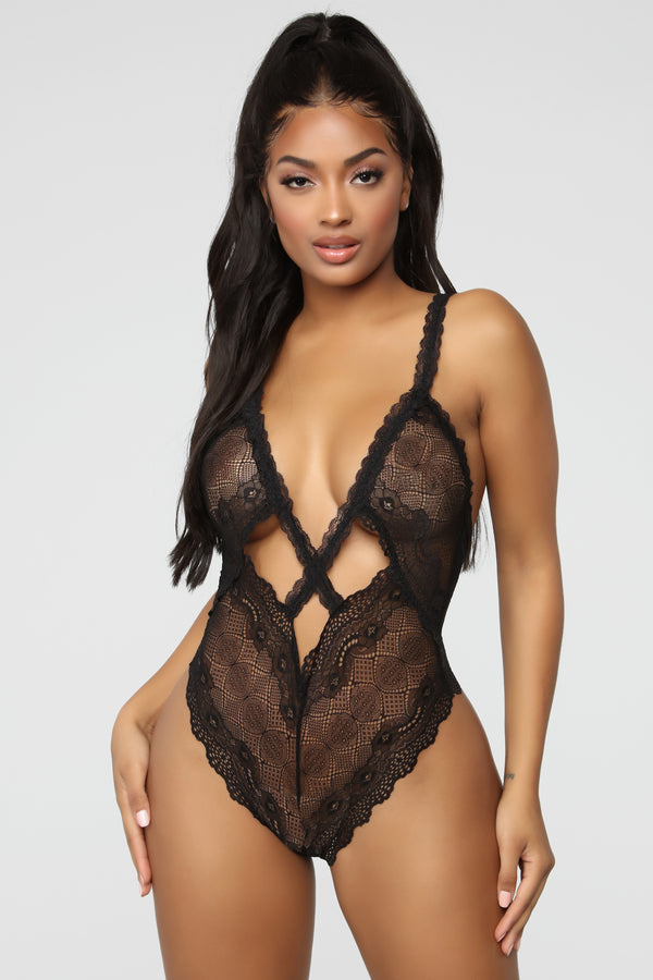 bc8a7d4b533 Cross The Line Lace Teddy - Black