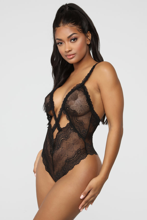 2d8a92f3c Cross The Line Lace Teddy - Black
