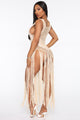 Beach Date Night Crochet Cover Up Dress - Beige