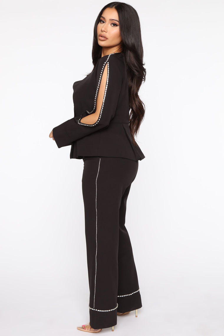 Extravagant Nights Pant Set - Black