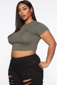 Robin Crop Top - Army Green Angle 6