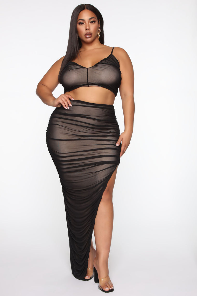 New York Nights Mesh Skirt Set - Black/combo