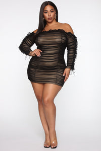 Sincerely Yours Ruched Mini Dress - Black/combo Angle 4