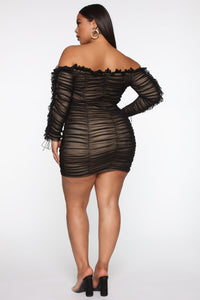Sincerely Yours Ruched Mini Dress - Black/combo Angle 6