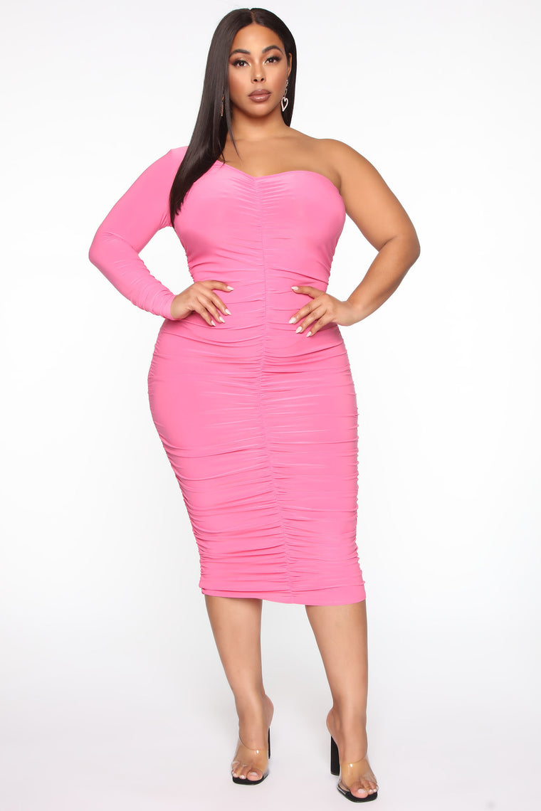 One Hot Mami Ruched Midi Dress - Hot Pink