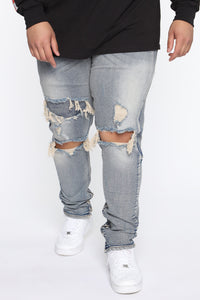 Chase The Money Distressed Skinny Jean - Vintage Blue Wash Angle 7