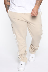 Post Cargo Track Pants - Stone/White Angle 8