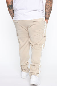 Post Cargo Track Pants - Stone/White Angle 9