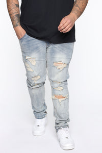 Crater Skinny Destroyed Jeans - LightWash Angle 5