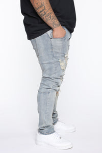 Crater Skinny Destroyed Jeans - LightWash Angle 7