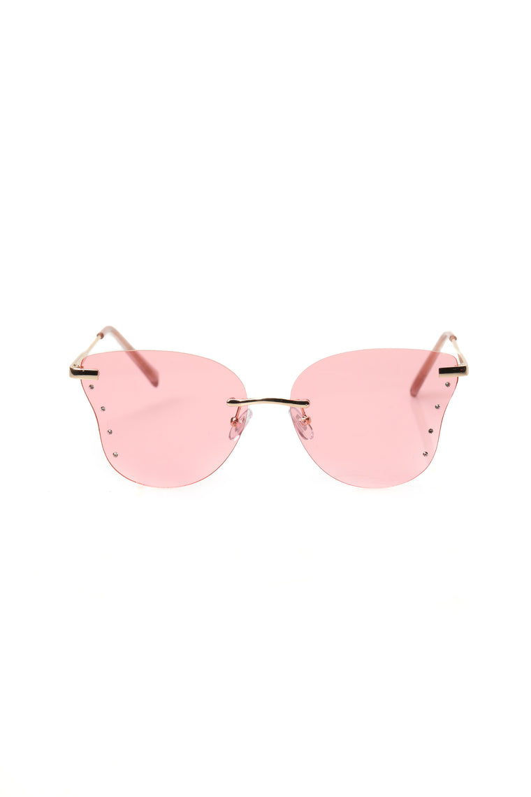 No More Games Sunglasses - Gold/Pink
