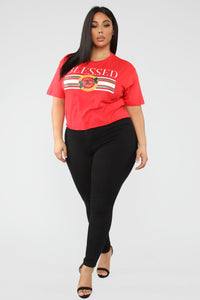 I'm Way Up Short Sleeve Top - Red