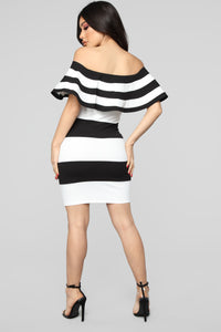 Pia Off Shoulder Stripe Dress - Black/White