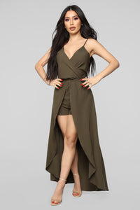 Always Wanting You Maxi Romper - Olive Angle 1
