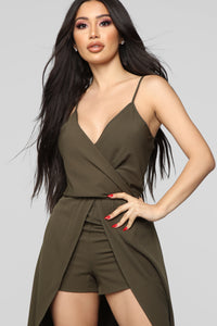 Always Wanting You Maxi Romper - Olive