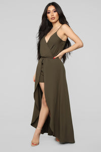 Always Wanting You Maxi Romper - Olive Angle 3