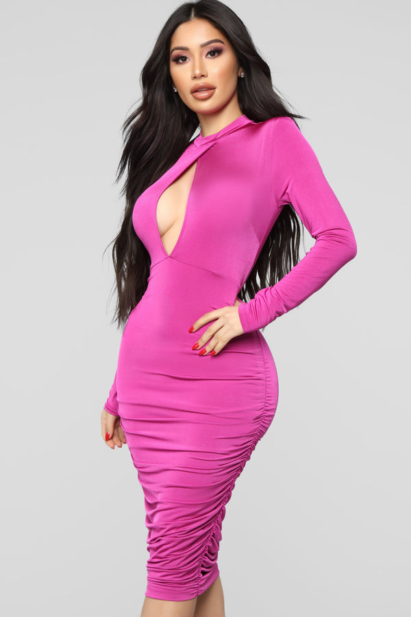 07476703e5f2 Come On In Midi Dress - Fuchsia
