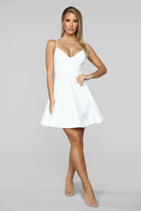 Take A Spin Fit And Flare Dress - Ivory Angle 2