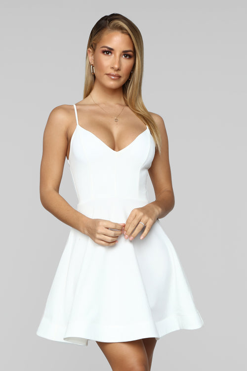 Take A Spin Fit And Flare Dress - Ivory