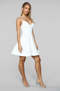 Take A Spin Fit And Flare Dress - Ivory Angle 3