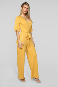 Your Go To Ribbed Jumpsuit - Mustard