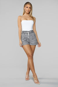 Indio Striped Shorts - Black/White