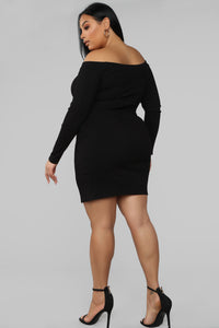 Inevitable Change Off Shoulder Mini Dress - Black