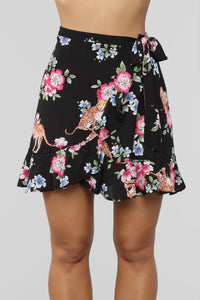 Hawaiian Tropics Wrap Skirt - Black