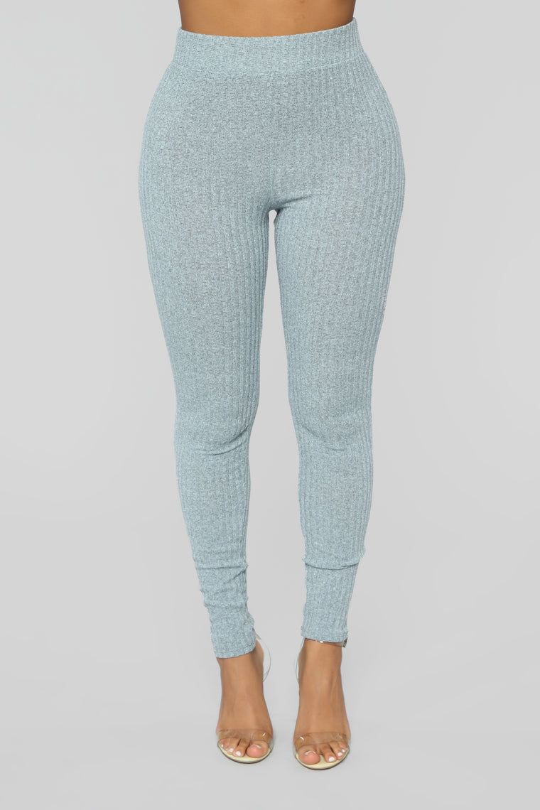 All About My Comfort Ribbed Pant Set - Blue