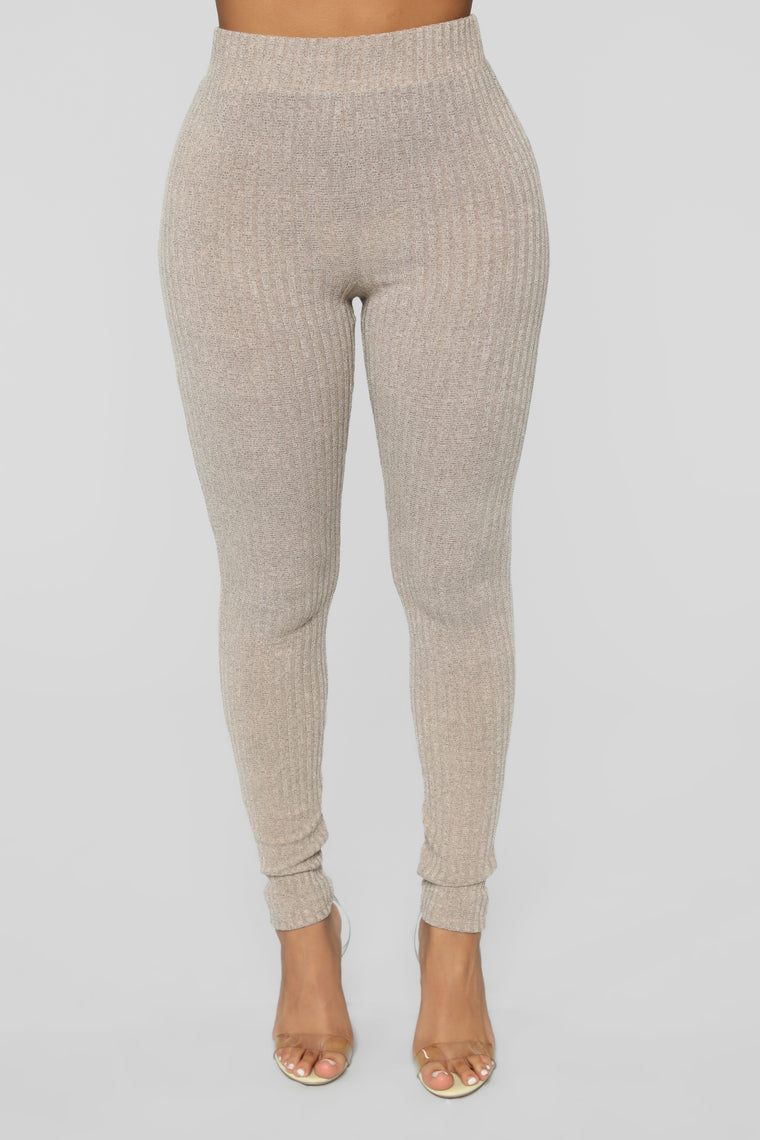 All About My Comfort Ribbed Pant Set - Taupe