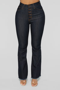 Smoothed Edges Flare Jeans - Dark Denim