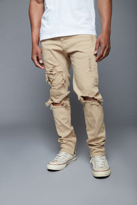 Point Of View Skinny Jeans - Khaki Angle 6