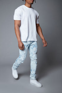 Hustlin Skinny Jean - Bleach Blue Wash Angle 1