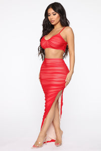 New York Nights Mesh Skirt Set - Red Angle 3