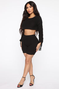 Ruched Or Die Biker Short Set - Black Angle 3