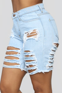 Can't Let It Go Bermuda Shorts - Light Blue Wash