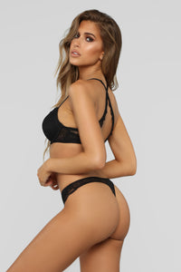 Layers To It Lace Thong Panty - Black