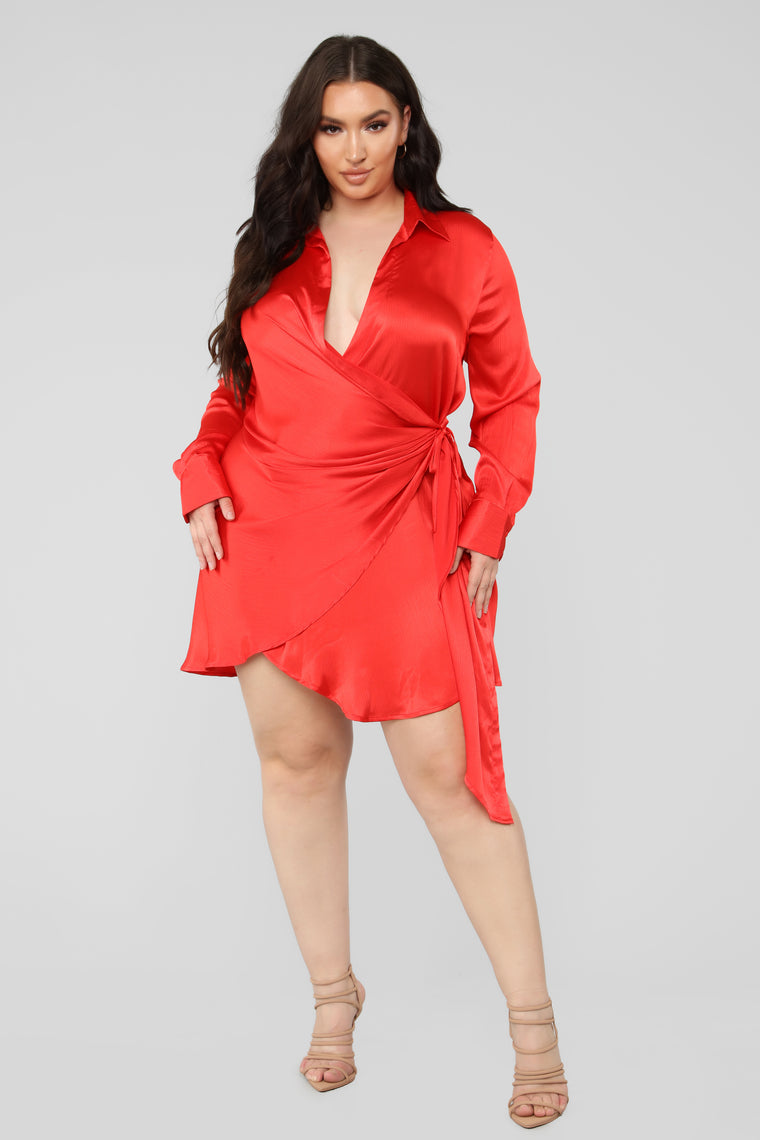 Pop The Champagne Mini Wrap Dress - Red