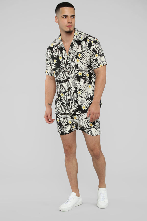 ca8ffe785 Kaine Short Sleeve Floral Button Up - Black White