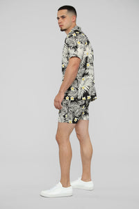 Kaine Short Sleeve Floral Button Up - Black/White