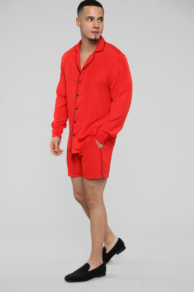 Classic Stan Long Sleeve Woven Top - Red/Black