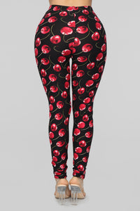 Cherry Bomb Print Leggings - Black Cherry