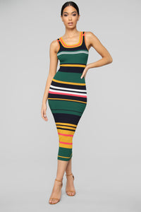 In My Own World Sweater Maxi Dress - Green/Combo