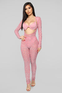 Earn My Wings Rhinestone Jumpsuit Set - Pink