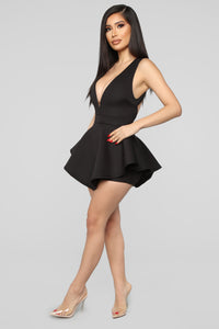 Glow To New Heights Peplum Romper - Black